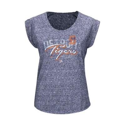 レディース スポーツリーグ メジャーリーグ Detroit Tigers Majestic Women's Rockin The Crowd T-Shirt - Navy Blue Tシャツ