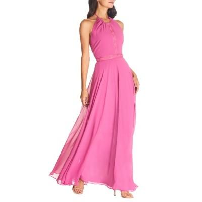 ドレスザポプレーション レディース ワンピース トップス Odette Halter Neck Chiffon Maxi Dress HIBISCUS