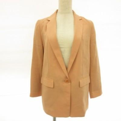 【中古】レイビームス Ray Beams テーラードジャケット 長袖 薄手 ベージュ 0 *E173 レディース