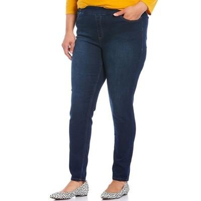 ウェストボンド レディース カジュアルパンツ ボトムス Plus Size the HIGH RISE fit Skinny Denim Pull-On Pants Dark Blue Blast