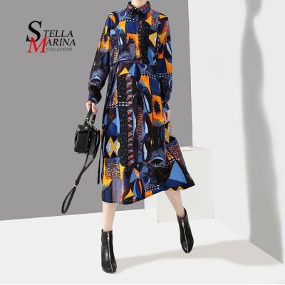欧米風!ロングワンピース ゆったりサイズ前開けイタリア・スタイル  マキシ丈  韓国ファッション 3932