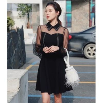 韓国ファッション レーヨン 縫付 スリム ワンピース