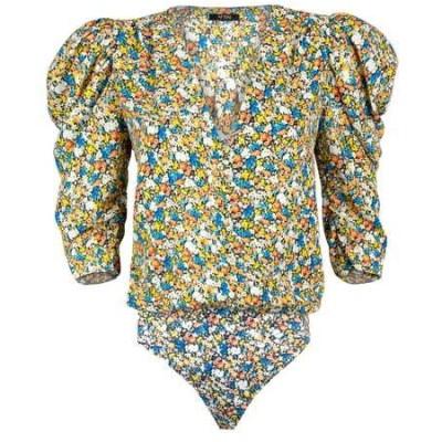 エーエフアールエム カットソー トップス レディース Foxy Puff Sleeve Bodysuit Spring Sapphire Ditsy