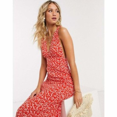 エイソス ASOS DESIGN レディース ワンピース ワンピース・ドレス plunge tie shoulder maxi dress in ditsy floral print