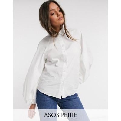 エイソス レディース シャツ トップス ASOS DESIGN Petite long volume sleeve shirt in cotton in white