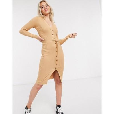 ブレーブソウル レディース ワンピース トップス Brave Soul dallia button down sweater dress in rib Camel