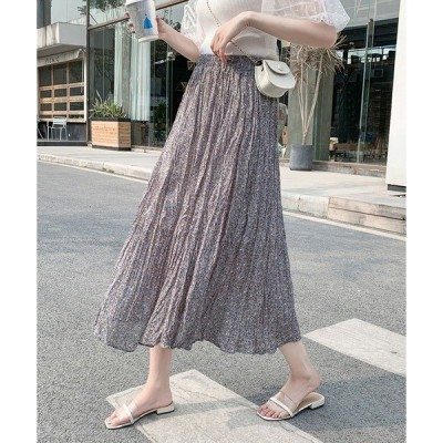 スカート 小花柄しわプリーツスカート