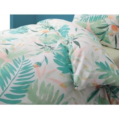 南国リゾートボタニカル柄 ピローケース(枕カバー) の単品1枚 43x63cm 色-リーフグリーン /テンセル混