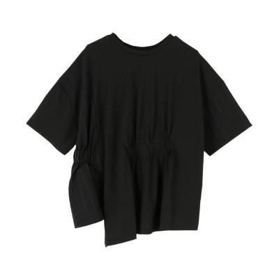 【ミエット】 前後2way異素材MIXTシャツ レディース ブラック F miette