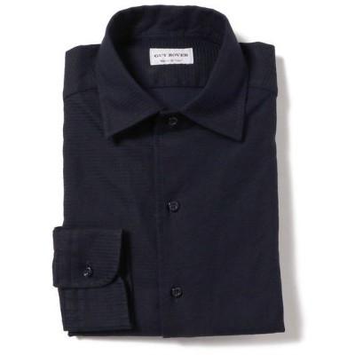 シャツ ブラウス GUY ROVER / ネイビー ジャカード ワンピースカラー シャツ