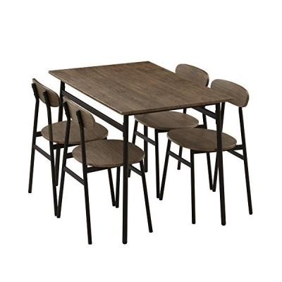 ぼん家具 ダイニングセット ダイニングテーブル 5点セット 4人用 チェア4脚 110×70cm おしゃれ ウォールナット