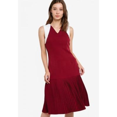 ザローラ ZALORA レディース パーティードレス ワンピース・ドレス Pleated Flutter Hem Dress Burgundy/Off White