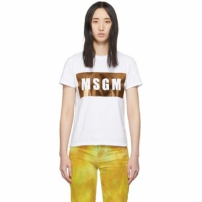 エムエスジーエム MSGM レディース Tシャツ トップス White and Gold Logo T-Shirt Gold