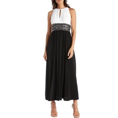 アールアンドエムリチャーズ レディース ワンピース トップス Colorblock Halter Neck Sleeveless Beaded Long Dress