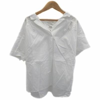 【中古】アリシアページボーイ シャツ ブラウス オープンカラー 半袖 無地 レースアップ F 白 ホワイト レディース
