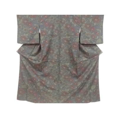 リサイクル 唐花模様織り出し十日町紬着物