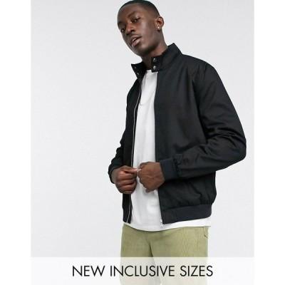 エイソス メンズ ジャケット&ブルゾン アウター ASOS DESIGN harrington jacket with funnel neck in black Black