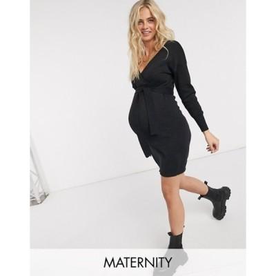 ママライシアス レディース ワンピース トップス Mamalicious Maternity wrap sweater dress in black