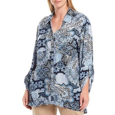 ルビーアールディー レディース カットソー トップス Plus Size Mosaic Print Roll-Tab Sleeve Button Down Woven Blouse