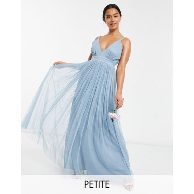 アナヤ ミディドレス レディース Anaya With Love Petite Bridesmaid tulle plunge front maxi dress in soft blue エイソス ASOS ブルー 青