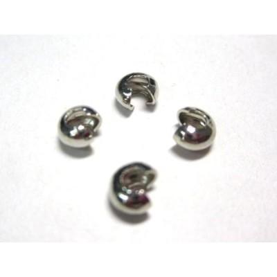 カシメ玉 つぶし玉 カバー アクセサリーパーツ ロジウム 約4mm 10個セット かしめ玉 つぶし玉