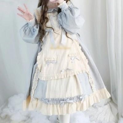 ロリータ ワンピース 春秋 七分袖 エプロンデザイン 姫 リボン かわいい ふんわりスカート blue long sleeve【M0312】