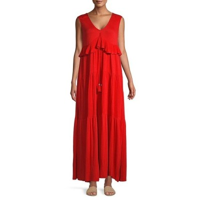 ジョアンバス レディース ワンピース トップス Tasseled-Tie Tiered Ruffle Maxi Dress Passion Red