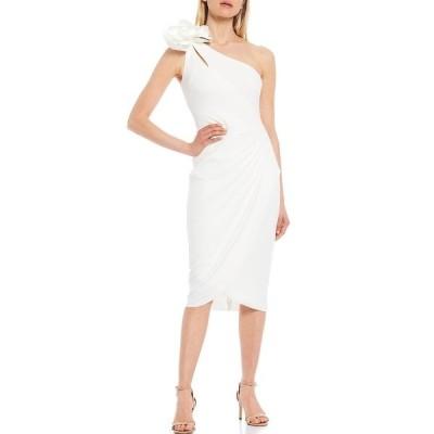 エスケープ レディース ワンピース トップス Floral Applique One Shoulder Sheath Dress White