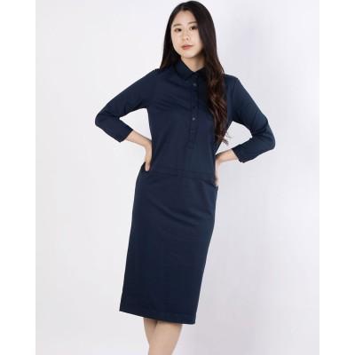 リネーム Rename タイトシルエットシャツ襟ワンピース(ネイビー)