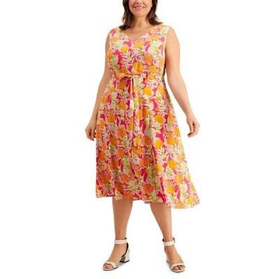 カルバンクライン ワンピース トップス レディース Plus Size Printed Fit & Flare Belted Midi Dress Orange Floral