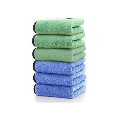 HUOYUNK 洗車タオルマイクロファイバークロス速乾性高吸水性タオル洗車職人家事掃除用 (グリーン*ブル 40*40*6)