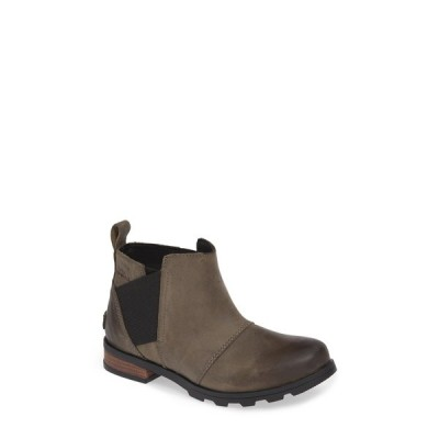 ソレル レディース ブーツ&レインブーツ シューズ Emelie Waterproof Leather Chelsea Boot QUARRY BLACK