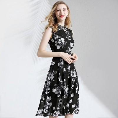 パーティドレス ♪セレブファッション Aラインワンピース 夏新作 ノースリーブ レース切替 品のある花模様で大人の魅力を演出 【送料無料】