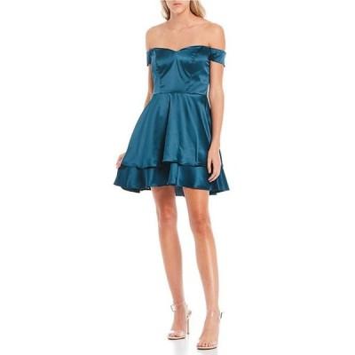 ビーダーリン レディース ワンピース トップス Off-the-Shoulder Double Hem Satin Fit-and-Flare Dress