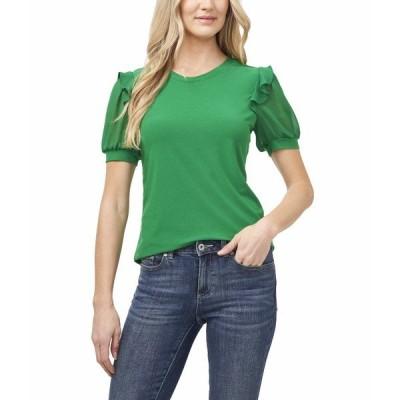 セセ シャツ トップス レディース Mix Media Ruffled Knit Top Lush Green