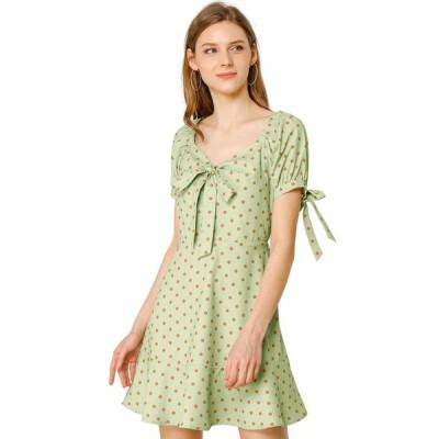 uxcell Allegra K ボウタイワンピース aライン フリル裾 蝶結び リボン 水玉 ドレス レディース ライトグリーン XS