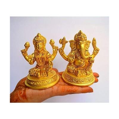真鍮成功の神 ガネーシャラクシュミー像 彫刻マーティアイドル - 真鍮主装飾崇拝 ヒンズー教神 家庭装飾 神 アイドル ガンパティ(ラクシュミー ガネ