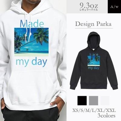 パーカー メンズ フード付き スウェット プルオーバー 長袖 ヤシの木 パームツリー 海 ビーチ 砂浜 青空 空 景色