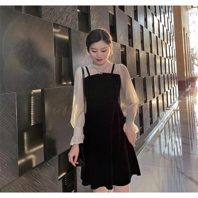緊急延長!!半額以下SALE!!韓国ファッション 2020年春 パフスリーブ 縫付 長袖 フェイク2ピース ワンビース 学院風 ベルベット ハイウエスト スーパーフェアリー 初恋 Aライン