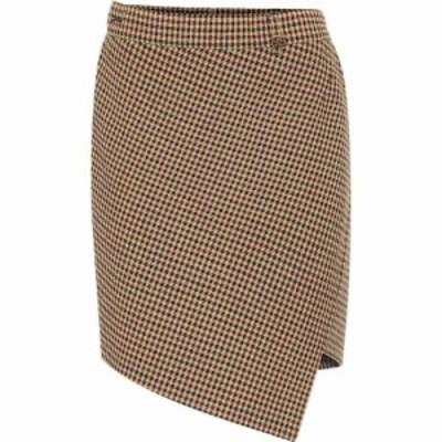 バレンシアガ Balenciaga レディース ミニスカート スカート houndstooth wool-blend miniskirt Brown
