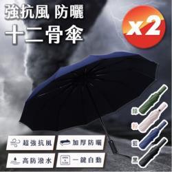 【超值2入組】 強抗風防曬十二骨傘- 顏色任選