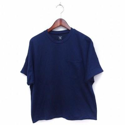 【中古】コムサコミューン COMME CA COMMUNE Tシャツ カットソー 胸ポケット 丸首 半袖 無地 シンプル M ネイビー 紺 /FT6 メンズ 【ベクトル 古着】