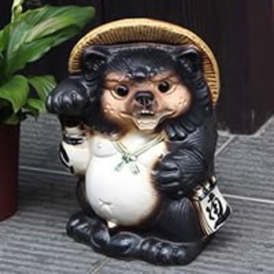 シーサー狸 オス たぬき 置物 名入れ  縁起物 信楽焼 おしゃれ 和風 陶器 【手作り】
