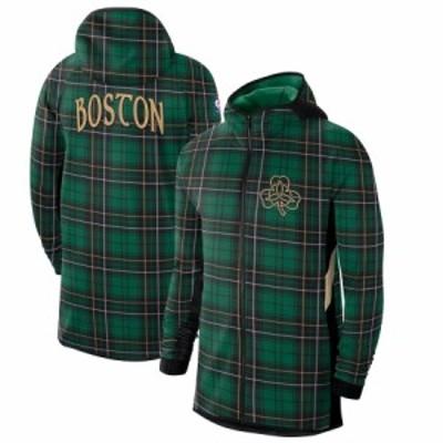 """ナイキ メンズ パーカー """"Boston Celtics"""" Nike 2019/20 Earned Edition Showtime Full-Zip Hoodie フーディー Green/Black"""