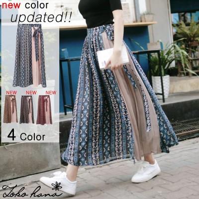 4colorエスニック柄切り替えプリーツスカート シフォン素材 結べるリボン ロングスカート シフォン スカート マキシス プリーツ レトロ柄 花柄  幾何学模様  かわいい