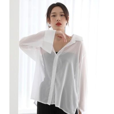 by muni:r / シアー素材 シースルーシャツ ブラウス/ルーズシルエットパステルカラーシアーシャツ/シアーシャツ WOMEN トップス > Tシャツ/カットソー