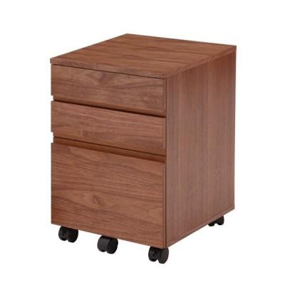木目調デスクワゴン/サイドチェスト 〔幅40cm〕 木製 ウォールナット キャスター付き〔代引不可〕