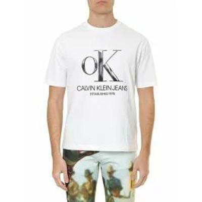 Calvin Klein Jeans メンズトップス Calvin Klein Jeans White Cotton T-shirt With Logo P