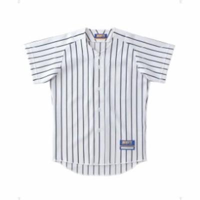 ジュニアユニフォームストライプメッシュシャツ BU521J【ZETT】ゼットヤキュウソフトユニフォーム シャツJR(BU521J-1129)