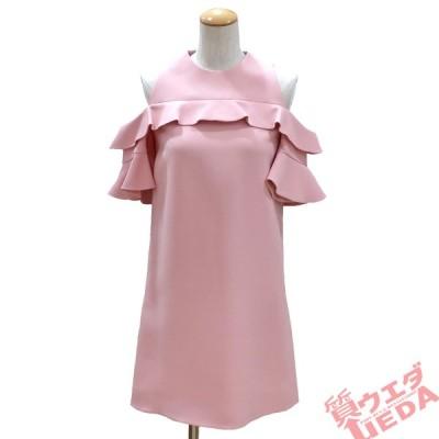 【栄】ルイヴィトン ワンピース オフショルダー フリル ウール シルク LV ピンク RW181B 34 アパレル 女 服